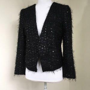 NWT LOFT Black Eyelash Sequined Crop Open Jacket 4